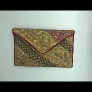 Indiana handmade recycled fabric clutch bag